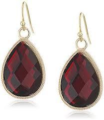 1928 jewelry gold tone red teardrop earrings