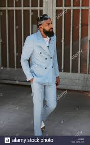 Armani Light Blue Suit Milan June 19 Man With Light Blue Suit And Beard Before