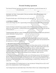Printable Sample Personal Training Contract Template Form | Online ...