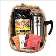 gourmet organic fair trade coffee and tea gift basket with snless travel mug