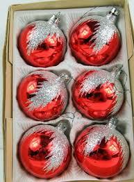 Alter Christbaumschmuck Rot Silber Glitter 6 Baumkugeln Aus