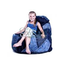 old blue recycled denim bean bag chair with nikecell fill