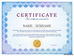 Certificate Border Template Free Interesting Certificate Template With Guilloche Diploma Border Design Stock