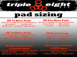 Triple 8 Sizing Chart Helmet And Pad Sizing Chart