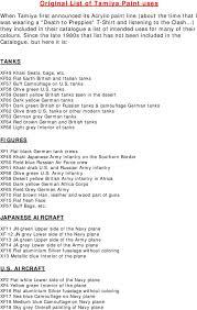 Original List Of Tamiya Paint Uses Pdf Free Download