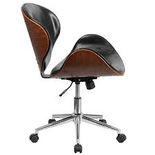wooden swivel desk chair. Amazon.com: Flash Furniture Mid-Back Walnut Wood Swivel Conference Chair In Black Leather: Kitchen \u0026 Dining Wooden Desk D