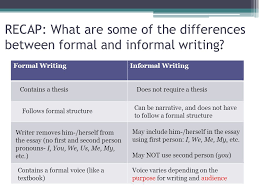 formal and informal writing ppt video online  recap what are some of the differences between formal and informal writing