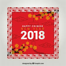 chinese new year design in frame style free vector