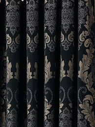 black damask fabric by the yard damask black gold heavy luxury designer eyelet curtain curtains uk