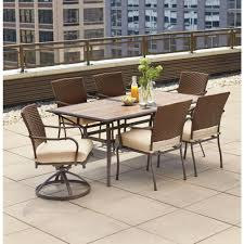 pin oak 7 piece wicker outdoor dining set with oatmeal cushion
