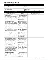 Job Performance Evaluation Form Templates Best Work Performance Template Maneyco