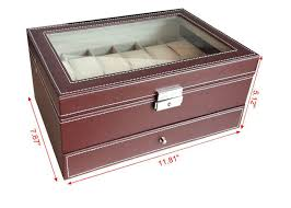 handmade mens watch jewelry box brown12 slots wooden watch storage case