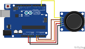 how to connect and use analog joystick with arduino brainy bits Joystick Electrical Schematic Symbol we need 5 connections to the joystick
