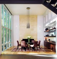 contemporary lighting dining room. Dining Room With Hanging Contemporary Lighting Over Round Table And Armless Chairs T