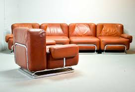 mid century leather 4 seat sofa and lounge chair in style of tobia scarpa