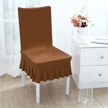 unique bargains stretchy spandex ruffled skirt short dining room chair covers washable removable seats protector slipcovers