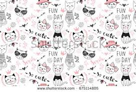 cute cat pattern wallpaper.  Cat Vector Fashion Cat Seamless Pattern Cute Kitten Illustration In Sketch  Style Cartoon Animals Background And Cat Pattern Wallpaper A
