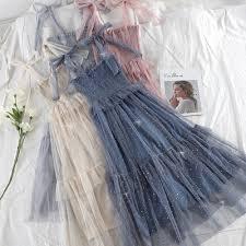 <b>Women Summer Korean</b> Mesh Sequins Fairy Dress Female Off ...