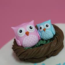 Baby Shower Cake With Fondant Owls In A Nest Cake Topper  Sweet Baby Shower Owl Cake Toppers