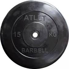 MB Barbell MB-<b>AtletB51</b>-15 <b>Диск обрезиненный Atlet</b>, 15 кг <b>51</b> мм ...