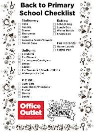 School Checklist Back To School Checklist Primary Secondary School Office Outlet