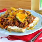 beef chili n cheddar potatoes