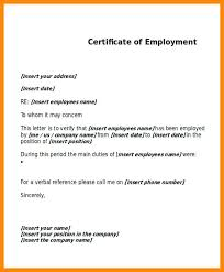 Example Of A Certificate Of Employment Doc Best Certificate Employment Pics Letter Format For Passport Of