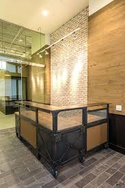 reception desk design custom l shaped reception desk metal wood desk reclaimed beetle kill wood top