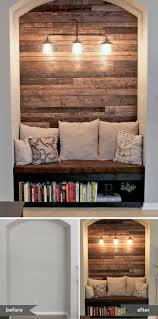 reading nook with wood plank wall