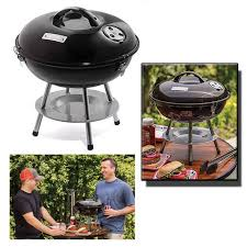 small portable charcoal bbq grill outdoor backyard cooking barbecue pit black