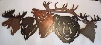 Small Picture Hand MadeAir BrushedMetal BearElkDeerMooseHomeDecorlodge