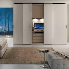 Contemporary Wardrobe  Sliding Door  With Integrated Unit For TV - Bedroom wardrobe sliding doors
