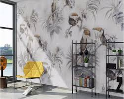 Us 915 39 Offaliexpresscom Buy Beibehang Customized Medieval Hand Painted Tropical Plants Leaves Flowers And Birds Background Wall Painting