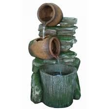 aqua creations 2 pots with bucket on slate water feature garden fountain led