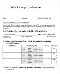 Employee Acknowledgement Form Template Training Manual Acknowledgment Form