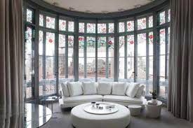 Charmful And Outside Bay Window Treatment in Floor To Ceiling Windows