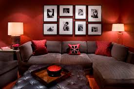 wall paint with brown furniture. Furniture Dark Brown Leather Couch With Red Wall Color And Coffee Table Ottoman Paint
