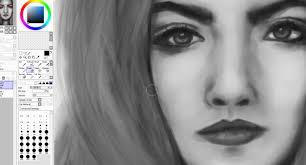 black white girl face digital painting