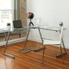 com walker edison 3 piece contemporary glass and steel desk silver kitchen dining