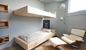 Teenage room with floating bunk beds