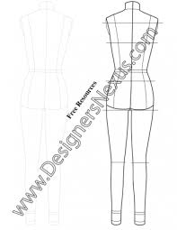 Body Template For Designing Clothes Full Body Female Dress Form Template Sketch V7 Back View Designers