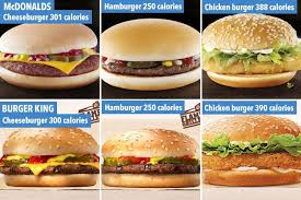 Mcdonalds Uk Nutrition Chart Mcdonalds And Burger King Menu Calories Compared From