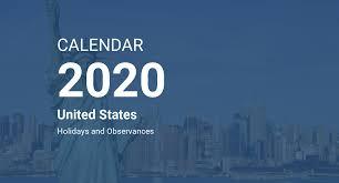 Year 2020 Calendar United States