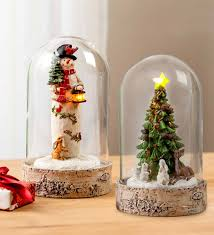 Lighted Glass Cloche Lighted Woodland Cloche Holiday Decor Wind And Weather