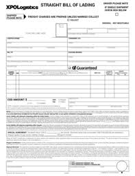 Straight Bol Xpo Bill Of Lading Fill Online Printable Fillable Blank
