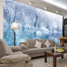 Image is loading Lake-Winter-Snowy-Ice-Full-Wall-Mural-Decal-