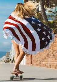 Fashion American Flag Beach Towel with Tassel Beach towel.