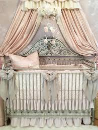 elegant linen lace blush pink crib