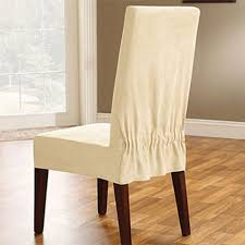 soft suede short dining room chair slipcover in cream