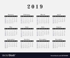 2019 Year Calendar Horizontal Design